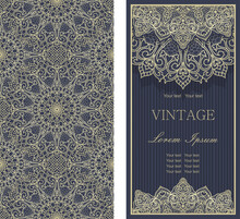 Set Of Template Greeting Card, Invitation And Advertising Banner, Brochure With Space For Text. Vintage Invitation Or Wedding Card With Damask Pattern And Elegant Floral Elements In Dark Blue And Gold