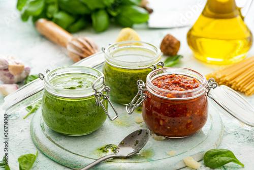 Obraz na płótnie Types of Pesto in Jars. Italian Homemade Healthy Food