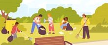Group Of Diverse Children Cleaning Up City Park Vector Flat Illustration. Boys And Girls Collecting Garbage Together Use Rake. Team Of Active Kids Pickup Rubbish Into Bags. Protection Environment