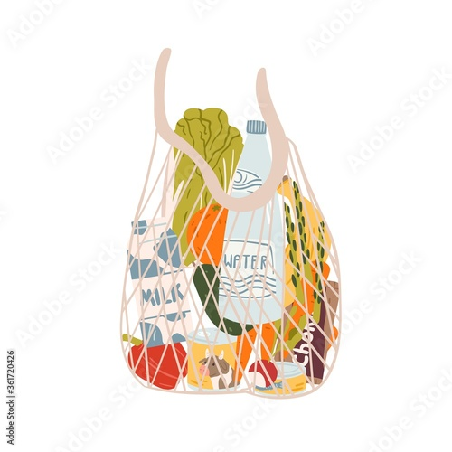 Fototapeta String or turtle bag full of products vector flat illustration. Stylish mesh accessory for carrying purchases isolated on white background. Eco friendly design sack with groceries from supermarket obraz