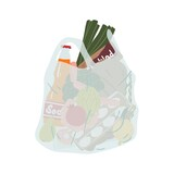 Grocery plastic package full of different food and drink vector flat illustration. Transparent disposable shopping bag with handles isolated on white. Pack for carrying products or purchases