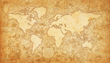 Old Map Of The World On A Old Parchment Background. Vintage Style. Elements Of This Image Courtesy Of NASA