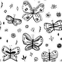 Seamless Pattern Butterflies Leaves Flowers. Sketch Freehand Drawing Doodle Lines Scandinavian Style Background Grunge Texture. Nursery Decor Trend Gift Wrap, Fabrics, Wallpapers, Black White. Vector