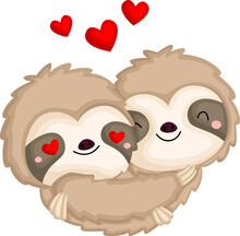 A Couple Of Sloth In Love Hugging Each Other