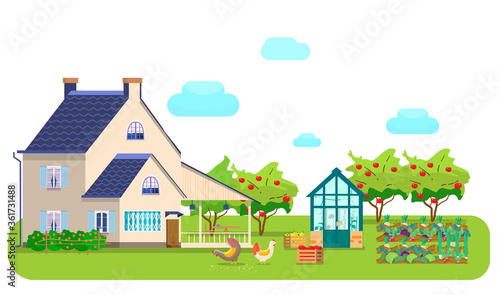 Vector illustration of countryside scene Canvas