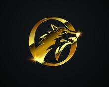 Vector Golden Wolf Initial Letter O Logo Sign