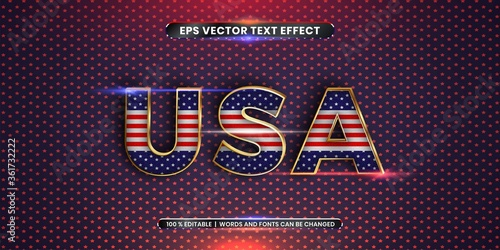 Tablou Canvas Editable text effect - USA word with its national country flag