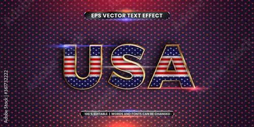 Slika na platnu Editable text effect - USA word with its national country flag