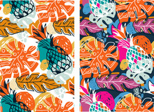 Trendy Template Design Texture. Color Abstract Hand Drawn Doodle Tropical Pattern Background. Trendy Template Design Texture.