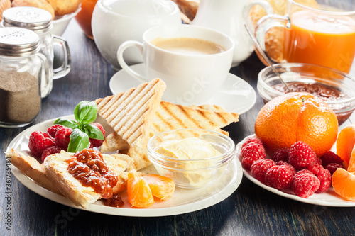 Fresh and continental breakfast table Wallpaper Mural