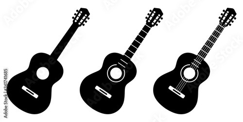 Fotografie, Tablou Guitar icon set. Acoustic guitar silhouette. Vector