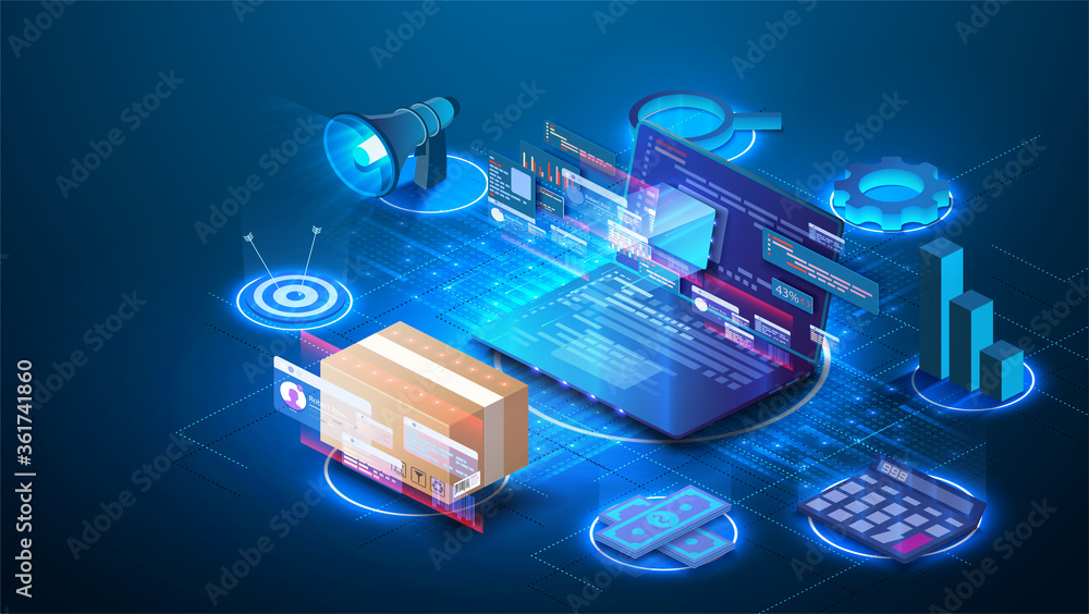 Fototapeta Smart logistics industry 4.0. Inventory optimization isometric  Asset warehouse and inventory management supply chain technology concept. Auditing of data, digital technology. Web banner template