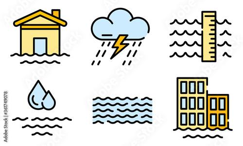 Fotografia, Obraz Flood icons set