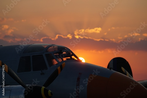 Fokker DR I during the orange beautiful sunset Wallpaper Mural