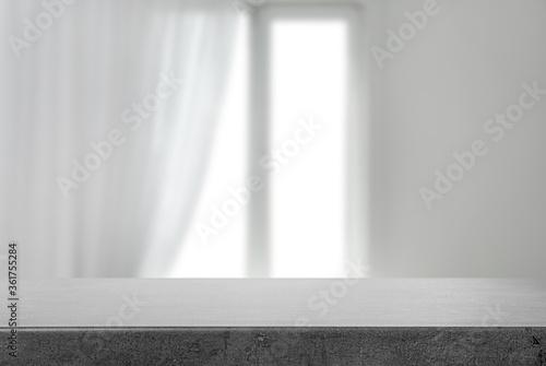 Fototapeta Empty grey stone surface and blurred view of modern window obraz