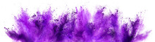 Bright Purple Lilac Holi Paint Color Powder Festival Explosion Isolated White Background. Industrial Print Concept Background