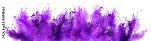 Vászonkép bright purple lilac holi paint color powder festival explosion isolated white background