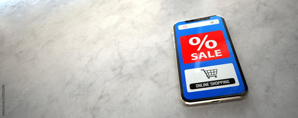 Fototapeta Smartphone Sale Online Shopping
