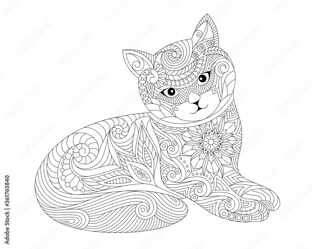 Fototapeta Kitten - Illustration for coloring - Pet - Cute animal
