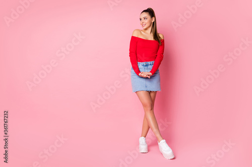 Full length body size view of her she nice-looking attractive lovely pretty gorgeous winsome shy cheerful girl posing thinking isolated over pink pastel color background