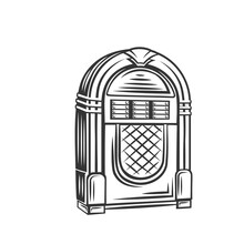 Retro Jukebox Monochrome Icon