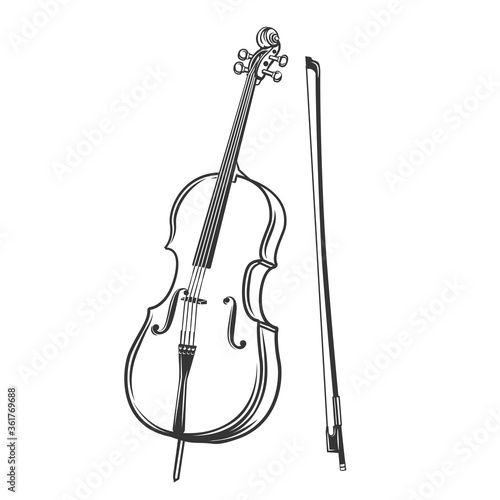Obraz na plátně Cello outline icon.