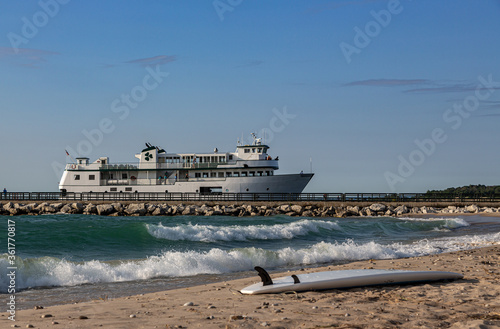 Ferry coming to Charlevoix Michigan. Canvas Print