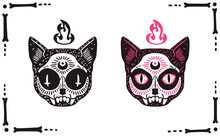Occult Gothic Cat Skulls Set Isolated On White. Mysterious Vector Print For Stickers, Apparel, Etc.