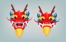 Red Oriental Dragon Head With ...