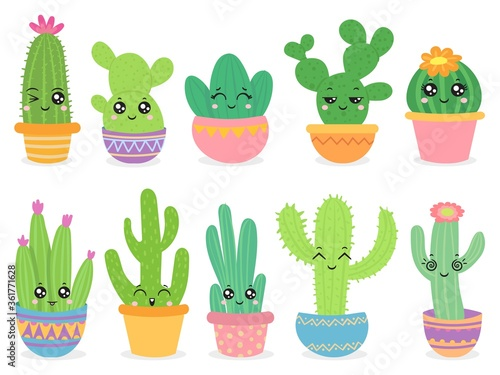 Cartoon cactus. Cute succulent or cacti plant with happy funny face, tropical smiling flower sticker, mexican plants color vector characters. Desert prickly plant badges in pots isolated on white