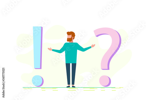 Vászonkép Concept illustration of frequently asked questions of exclamation marks and question marks, metaphor question answer
