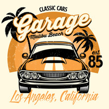 Beach Shirt Design Of Classic American Muscle Car
