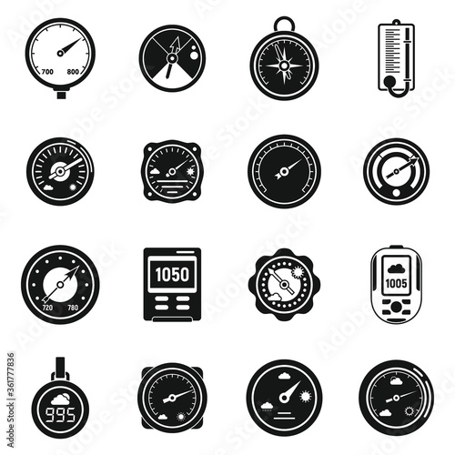 Weather barometer icons set Wallpaper Mural