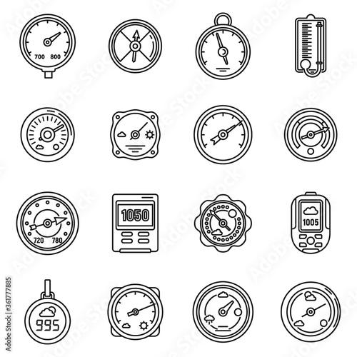 Barometer control icons set Canvas Print