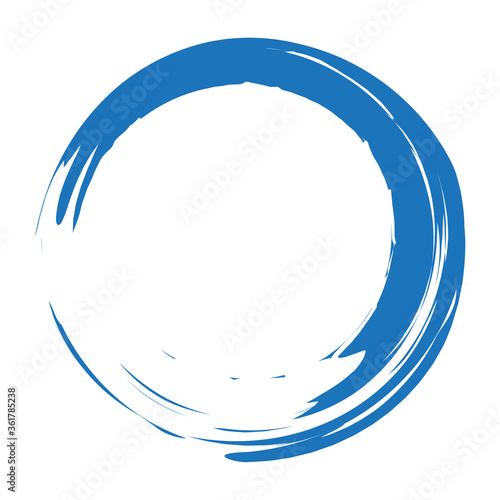 Photo Grunge circle brush stroke isolated on white background