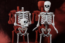 Two Human Toy Skeletons Stand Against The Mirror Surface, One Of Them Holding His Head In His Hands