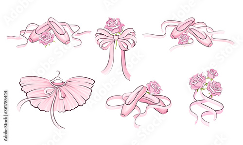 Fotografie, Obraz Ballet Accessories with Tutu Skirt and Pair of Pointe-shoes Vector Set
