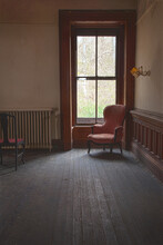 Empty Chair In Abandoned Room ...