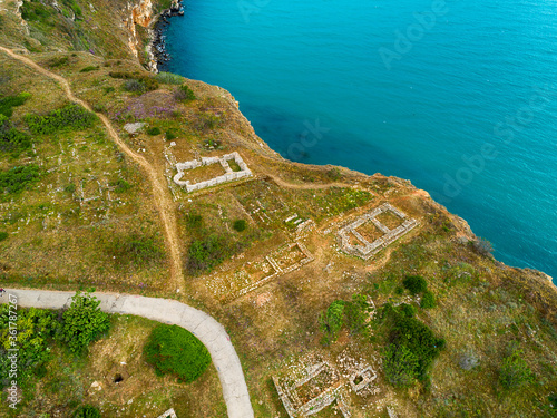 Canvastavla AERIAL view of monumental historical town of Kaliakra Unesco world heritage
