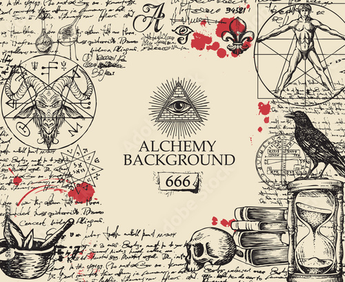 Alchemy background in vintage style Poster Mural XXL