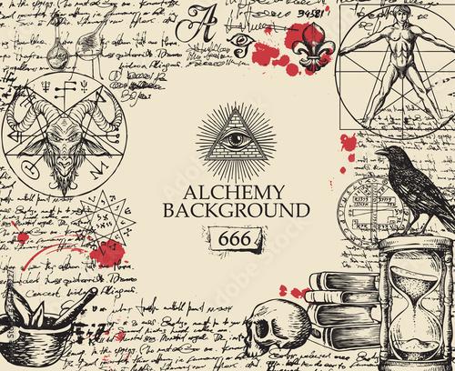 Fotografía Alchemy background in vintage style