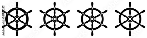 Ship steering wheel set. Boat steering wheels. Vector фототапет
