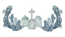 お墓と幽霊の水彩イラ...