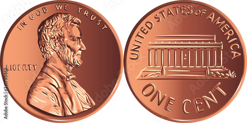 Obraz American money Lincoln Memorial cent, United States one cent or penny, coin with President Abraham Lincoln on obverse and Lincoln Memorial on reverse - fototapety do salonu