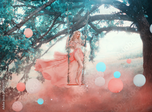 Art princess elf stands swinging on magical forest swing mystical tree Wallpaper Mural