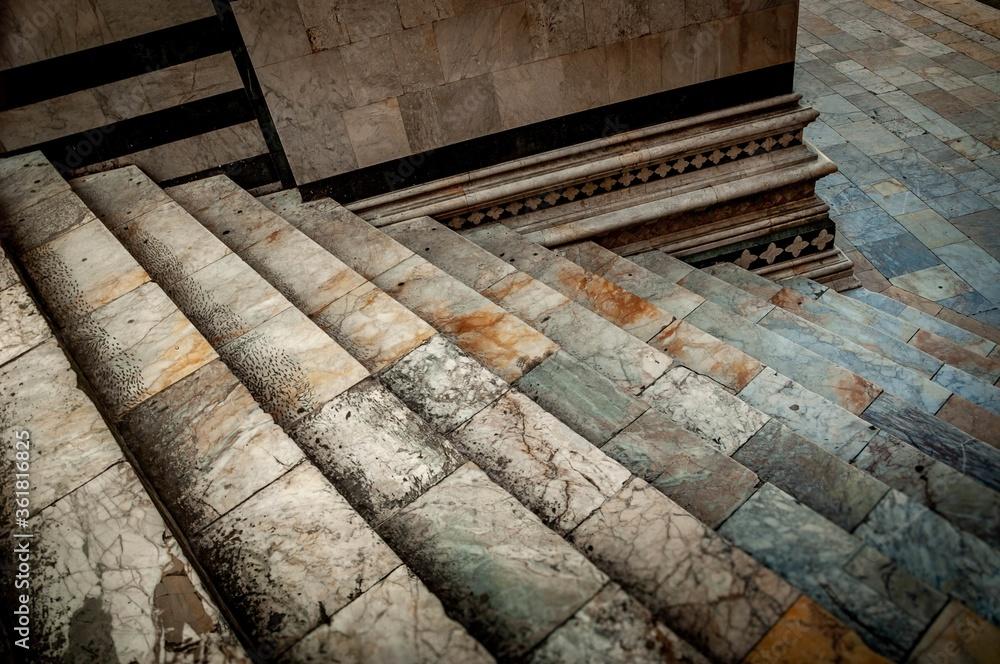 Fototapeta Close up shot of a unique stair construction