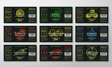 Handcrafted Sauce Labels Template Collection. Abstract Vector Packaging Design Layouts Set. Modern Typography Banners With Hand Drawn Herbs, Mushrooms And Vegetables Silhouettes Background.
