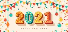 Happy New Year 2021 Card Or Ba...