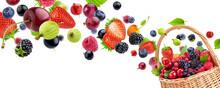 Fresh Berries In Basket Isolat...