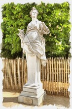 In The Tuileries Gardens. Ancient Sculpture Of Ceres. Imitation Of Oil Painting. Illustration